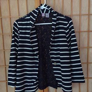 Navy Blue Striped Lace Blazer